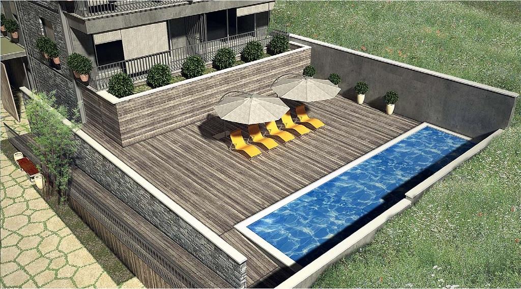 Студия в комплексе с бассейном в Которском заливе