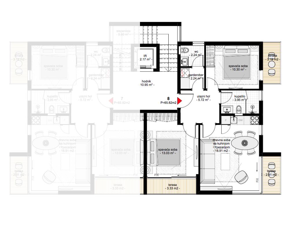 Просторный апартамент в новом жилом комплексе в Тивате