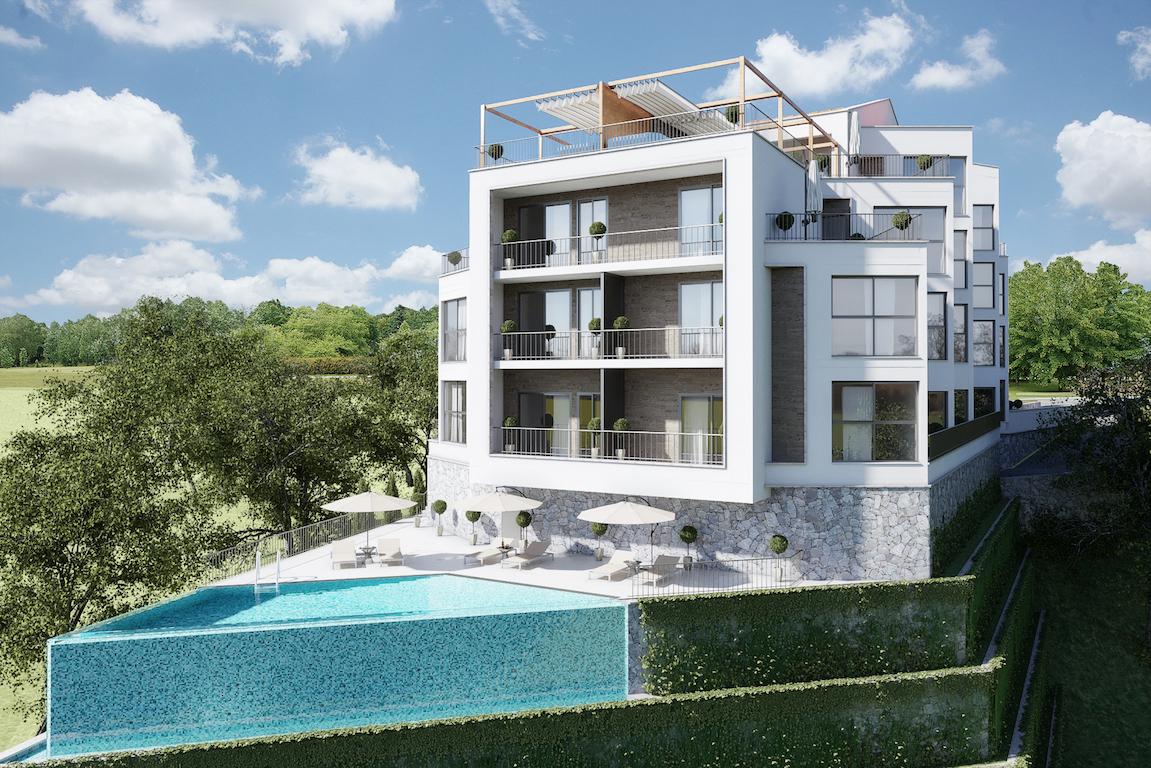 Апартамент в новом жилом комплексе с видом на море в Тивате