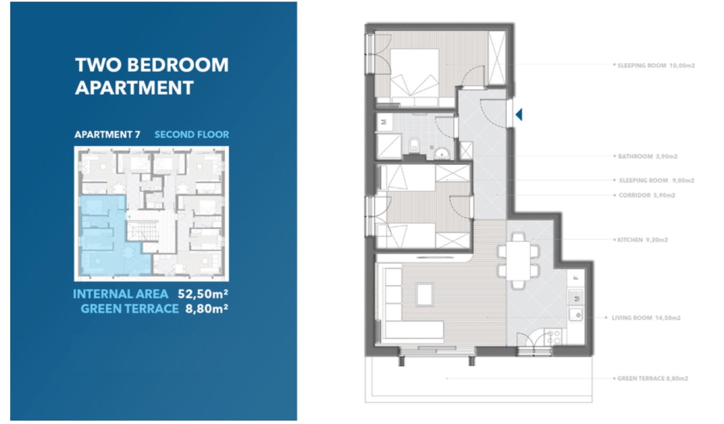 Просторный апартамент в новостройке в 200 м от моря в Тивате