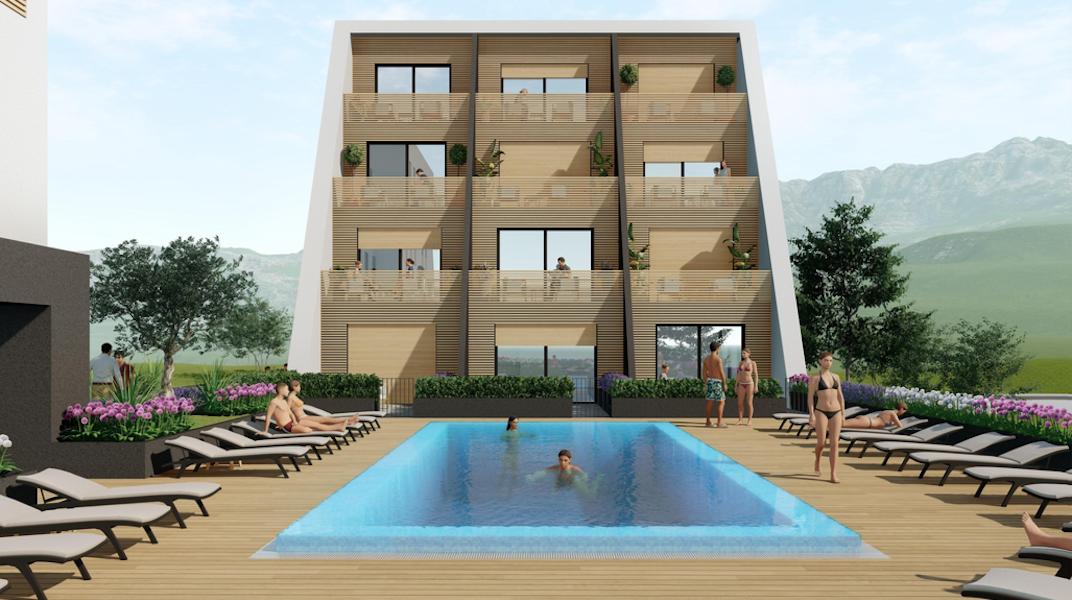 Апартамент с двумя спальнями в новом ЖК с бассейном в Тивате